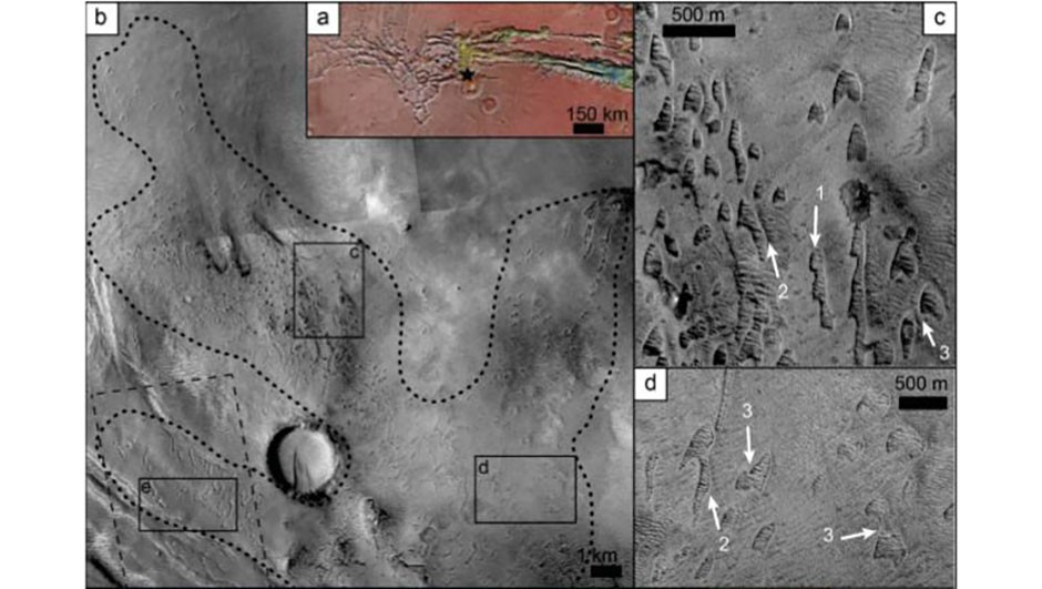 The locations of the dunes at Noctis Labyrinthus (b), just west of Vallis Marinaris at the black star (a). Close-ups of the pits (c) and (d) show them as crescent shapes similar to barchan dunes found on Earth. Credit: Mackenzie Day and David Catling/ AGU