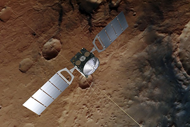 An artist's impression of the Mars Express orbiter. Signals beamed down to the surface of the Red Planet indicate a hidden pond of liquid water below subsurface ice and dust. Spacecraft image credit: ESA/ATG medialab; Mars: ESA/DLR/FU Berlin, CC BY-SA 3.0 IGO