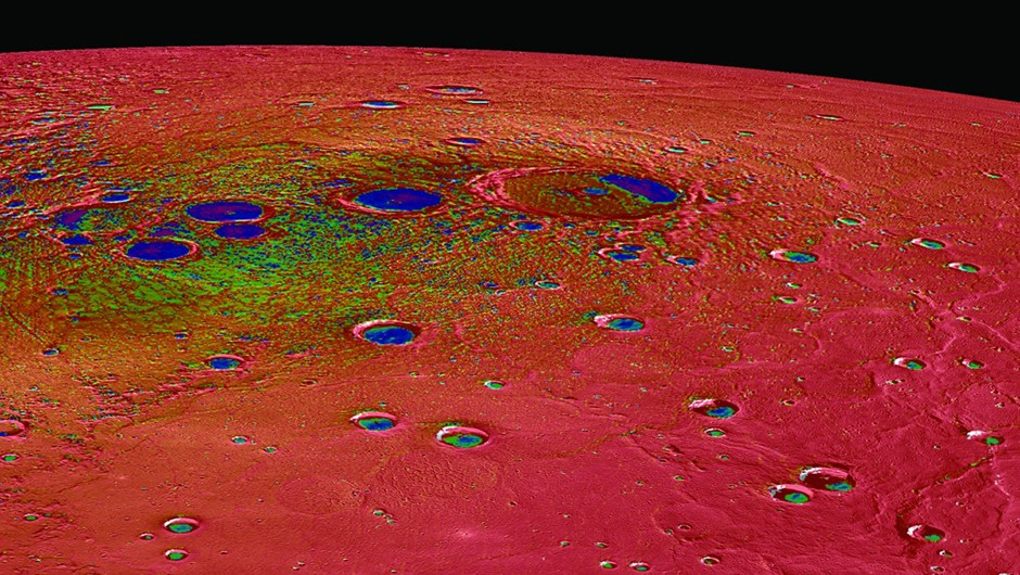 Mercury's north polar region, coloured by maximum surface temperature. Red represents a toasty 125ºC or more Credit: NASA/Johns Hopkins University Applied Physics Laboratory/Carnegie Institution of Washington