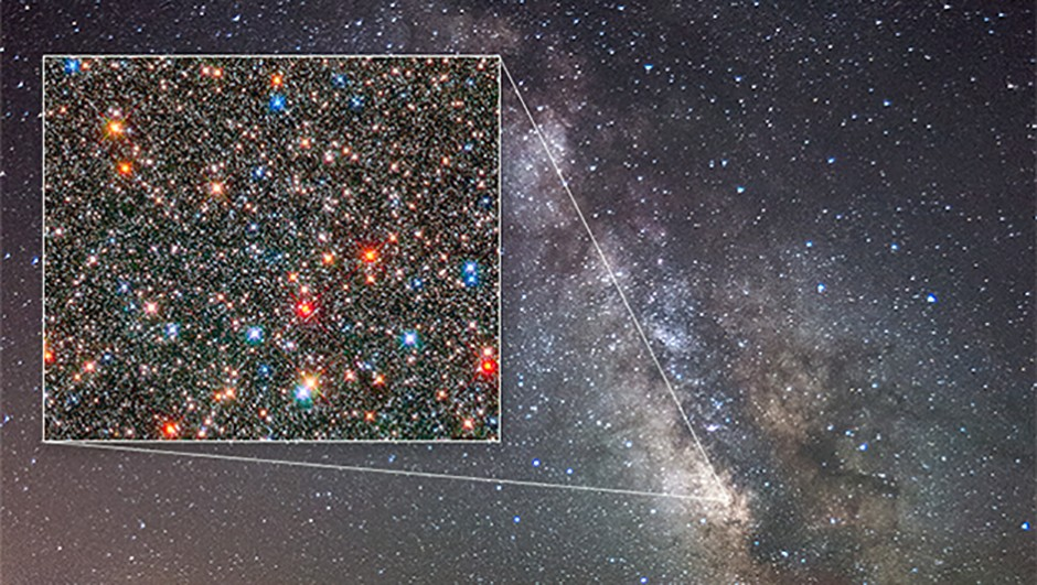 The Milky Way bulge as seen from Earth and, inset, as seen by the Hubble Space Telescope Credit: NASA, ESA, and Z. Levay (STScI)