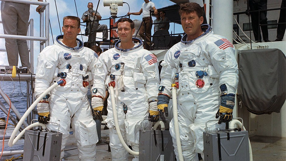 "The Apollo 7 crew R. Walter Cunningham, Donn F. Eisele and Walter M. ""Wally"" Schirra Jr. We look back at this incredible mission 50 years on, in our October 2018 issue.  Credit: NASA"