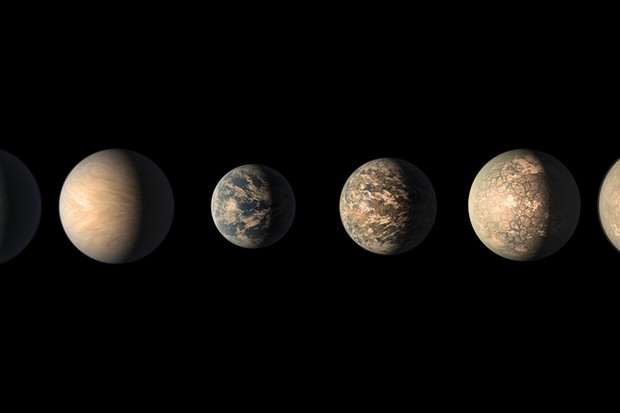 This artist's concept shows what the TRAPPIST-1 planetary system may look like, based on available data about the planets' diameters, masses and distances from the host star, as of February 2018. Image Credit: NASA/JPL-Caltech