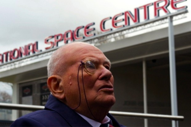 Patrick Moore was in Leicester at the launch of the planetarium renamed in his honour Credit: Stuart Hollis