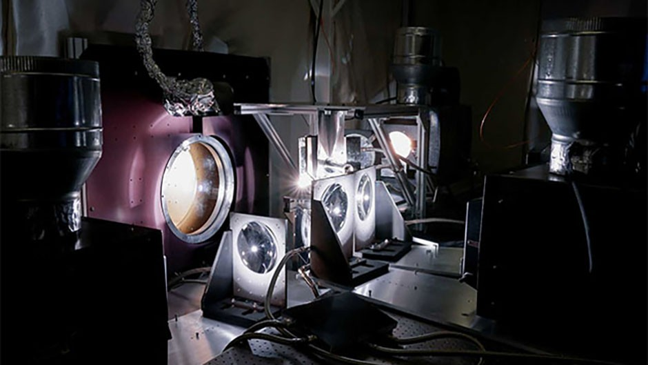 The scientists' solar simulation; constructed using IMAX projectors to recreate the heat and light the probe will experience at the surface of the Sun. Credit: Levi Hutmacher, Michigan Engineering