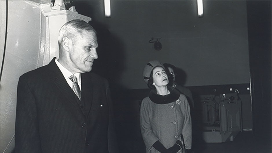 The Queen visits the INT for its inauguration, accompanied by then Astronomer Royal Richard Woolley, 1 December 1967. Credit: Science Projects Ltd.