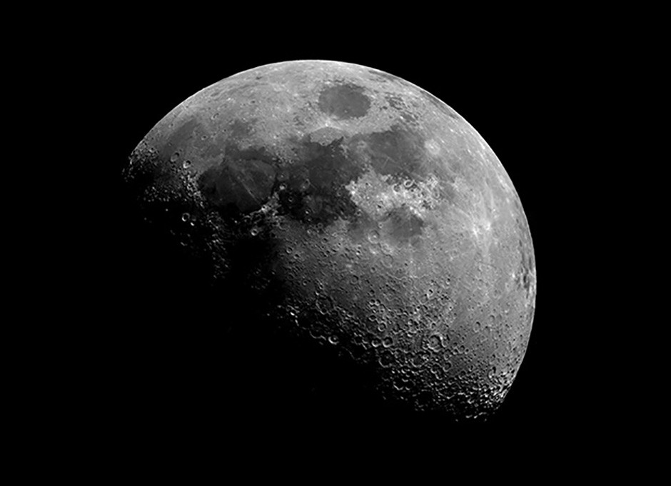 Rugged terrain on the waxing gibbous Moon as captured through AMAT's 0.35-metre telescope Credit: Royal Observatory Greenwich AMAT (c) National Maritime Museum, London