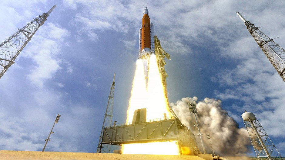 An artist's impression of the Space Launch System rocket launching from Kennedy Space Center in Florida. The mission is part of a long-term goal to push further out into space, with the ultimate aim of putting human feet on Mars. Credit: NASA