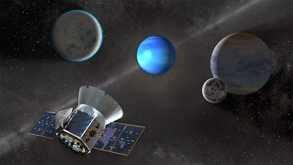 An illustration of the TESS spacecraft observing an M dwarf star with orbiting planets. TESS is expected to move the hunt for exoplanets into the next era. Credit: NASA's Goddard Space Flight Center