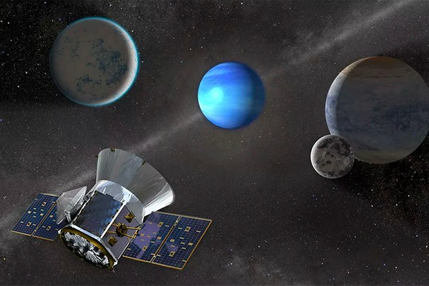 An illustration of the TESS spacecraft observing an M dwarf star with orbiting planets. TESS is expected to move the hunt for exoplanets into the next era. Image Credit: NASA's Goddard Space Flight Center