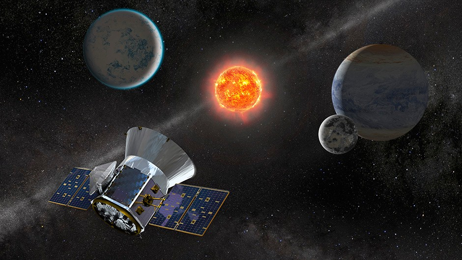 An artist's impression of the TESS mission examining exoplanets. Credit: NASA/JPL-Caltech