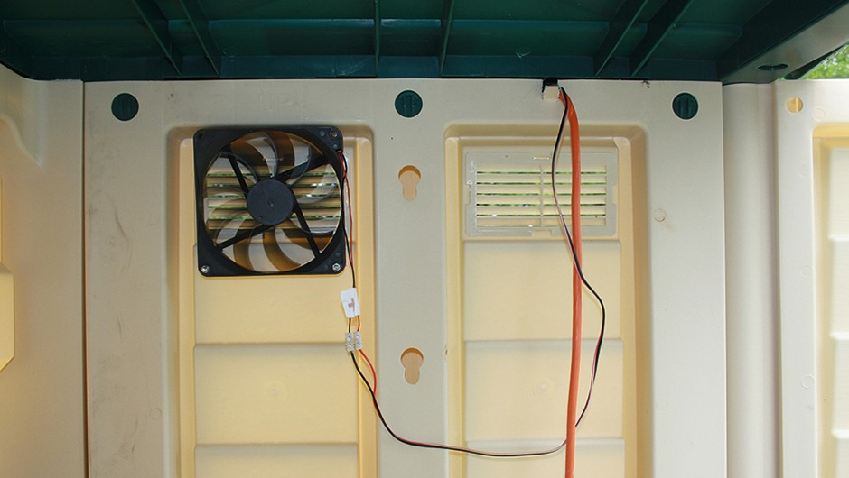 Installing a solar-powered fan will help to regulate the temperature in your shedCredit: Robert Lucas