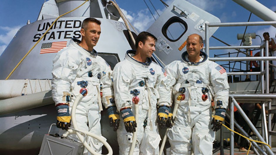 Left to right: Eugene Cernan, Thomas Stafford and John Young: the crew selected for Apollo 10's 'dress rehearsal' Moon landing. Image courtesy of NASA
