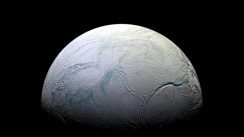 Enceladus's cratered crust, as seen by the Cassini spacecraft. What lies below, in the moon's subsurface ocean? Credit: NASA/JPL-Caltech/Space Science Institute