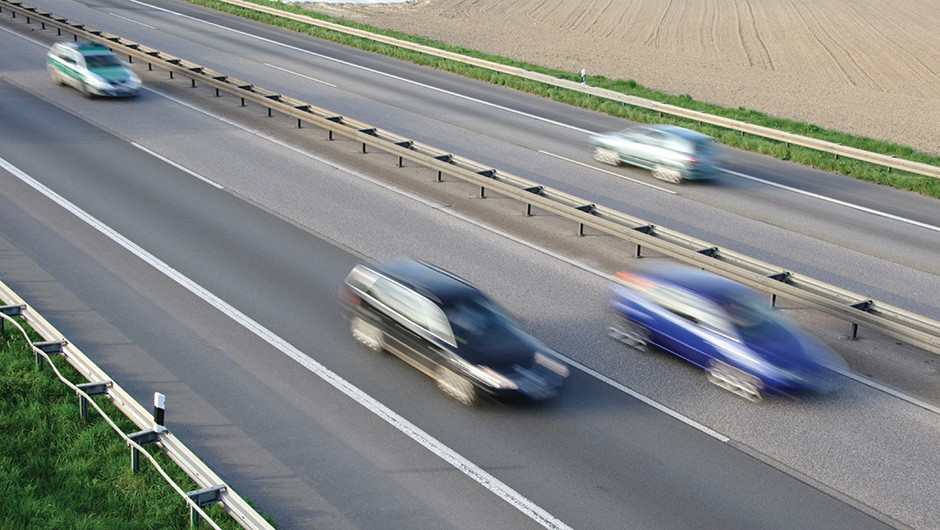 Passing cars on a motorway appear slower to each other than to everyone else Credit: Science Photo Library