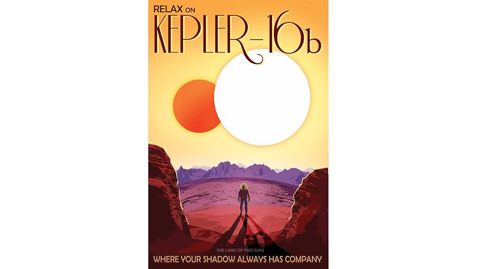 Kepler-16b travel poster courtesy of NASA/JPL-Caltech.