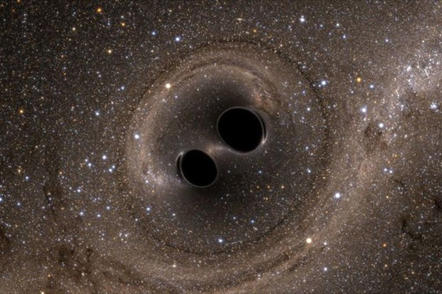 An artist's impression of two binary black holes in orbit around each other. Credit: The SXS (Simulating eXtreme Spacetimes)