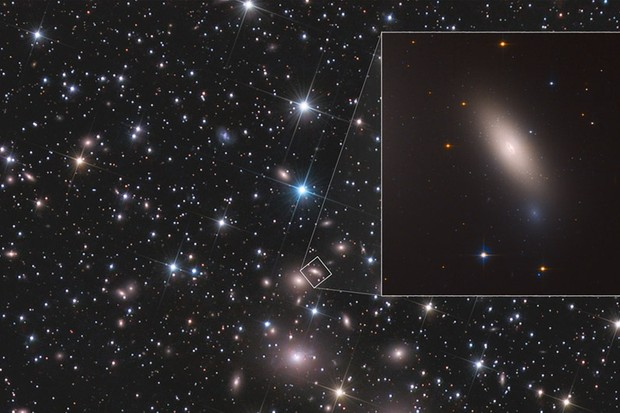 NCG1277 (insert) was found by searching for compact but massive galaxies, and will now be observed with NASA's Hubble Space Telescope. Image Credit: NASA, ESA, M. Beasley (Instituto de Astrofísica de Canarias), and P. Kehusmaa