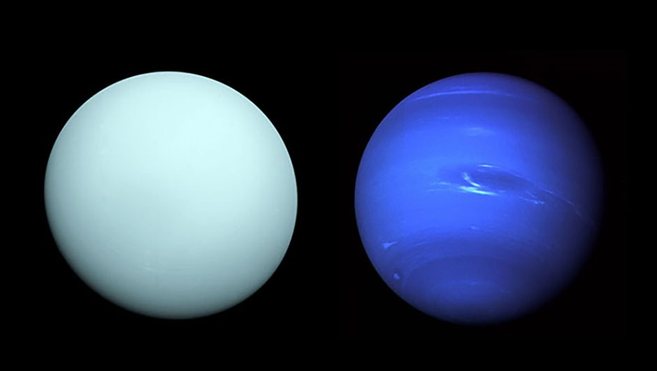 mages of Uranus (left) and Neptune (right), as seen by the Voyager 2 spacecraft. Credit: NASA/JPL-Caltech / NASA