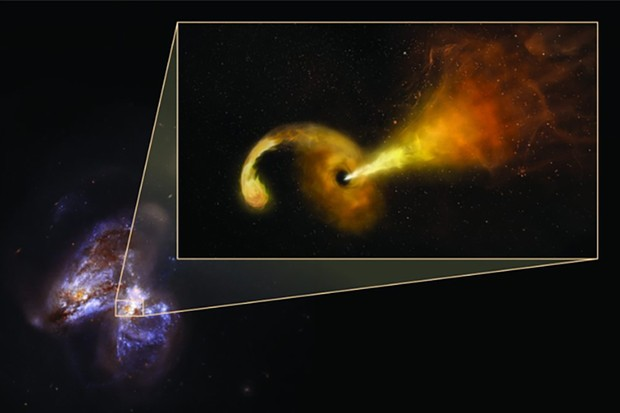 The act of a black hole destroying a star kick starts a chain of events which leads to a jet travelling at near light speeds. Image Credit: Sophia Dagnello, NRAO/AUI/NSF; NASA, STScI