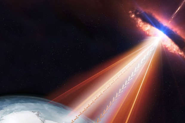 A blazar fires neutrinos and gamma rays billions of lightyears across the Universe until they hit Earth Credit: IceCube/NASA