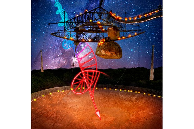 Astronomers used the Arecibo Telescope in Puerto Rico and observed that the light from a Fast Radio Burst was twisted. Image Credit: Danielle Futselaar - Brian P. Irwin/Dennis van de Water/Shutterstock.com.