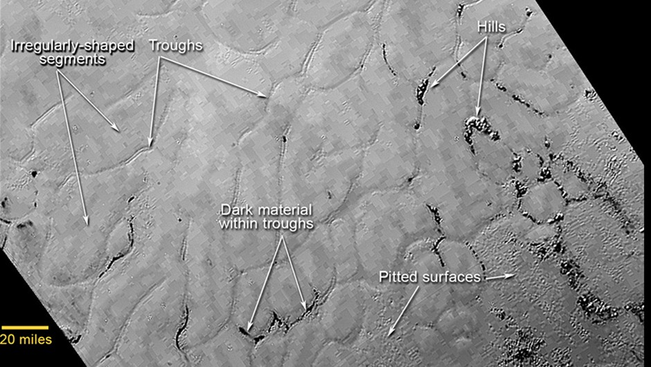 his annotated view of a portion of Pluto's Sputnik Planum (Sputnik Plain), named for Earth's first artificial satellite, shows an array of enigmatic features. The surface appears to be divided into irregularly shaped segments that are ringed by narrow troughs, some of which contain darker materials. Features that appear to be groups of mounds and fields of small pits are also visible. This image was acquired by the Long Range Reconnaissance Imager (LORRI) on July 14 from a distance of 48,000 miles (77,000 kilometers). Features as small as a half-mile (1 kilometer) across are visible. The blocky appearance of some features is due to compression of the image. Credits: NASA/JHUAPL/SWRI