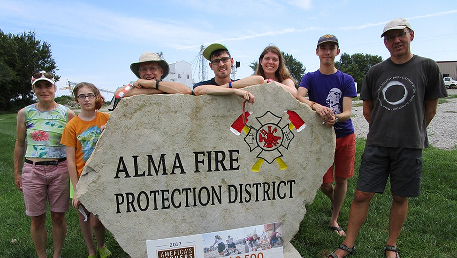 "Alma Missouri, a place that will be forever in my heart"". Phil (far right in this image) and family breathe a sigh of relief, their eclipse ambitions fulfilled.Credit: Phil Brocklebank"
