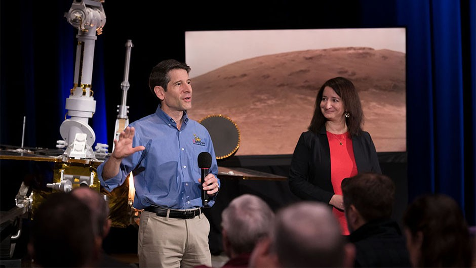 Dr Abigail Fraeman pictured with John Callas, project manager of the Spirit and Opportunity Mars rovers, at a mission debriefing looking back on the rovers' achievements at NASA's Jet Propulsion Laboratory, 13 February 2019.Credit: NASA/JPL-CaltechMars Exploration Rover - Opportunity Requesters: Veronica McGregor Photographer: R. Lannom Date: 13-FEB-2018 Photolab order: IMCOPS / 18.10.03.08