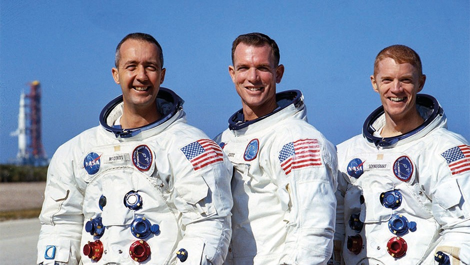 L-R: McDivitt, Scott and Schweickart, the crew of Apollo 9Credit: NASA