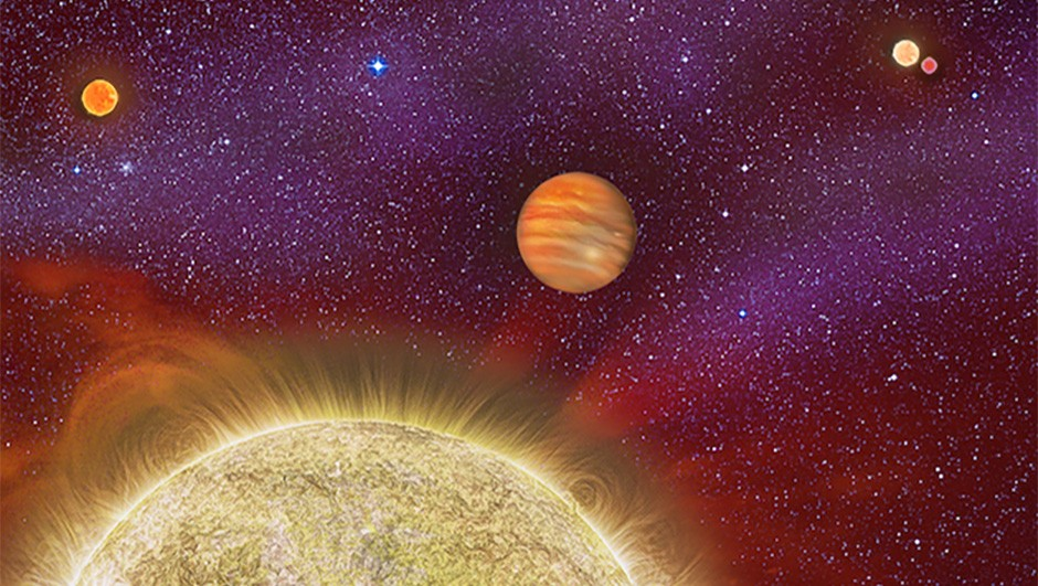 30 Ari with its newly discovered companion stars. This is only the second planet found residing in a quadruple star system and suggests that planets in quadruple star systems might be less rare than once thought. About 4% of solar-type stars are in quadruple systems. Were it possible to see the skies from this world, the four parent stars would look like one sun and two very bright stars that would be visible in daylight. One of those stars, if viewed with a large enough telescope, would be revealed too be a binary system, or two stars orbiting each other.30 Ari is located 136 light-years away from Earth in the constellation Aries. The system's gaseous planet is enormous, with 10 times the mass of Jupiter, and it orbits its primary star every 335 days.Automated Robo-AO at Palomar Observatory was used in this study with results that strengthens the connection between multiple star systems and massive planet formation.