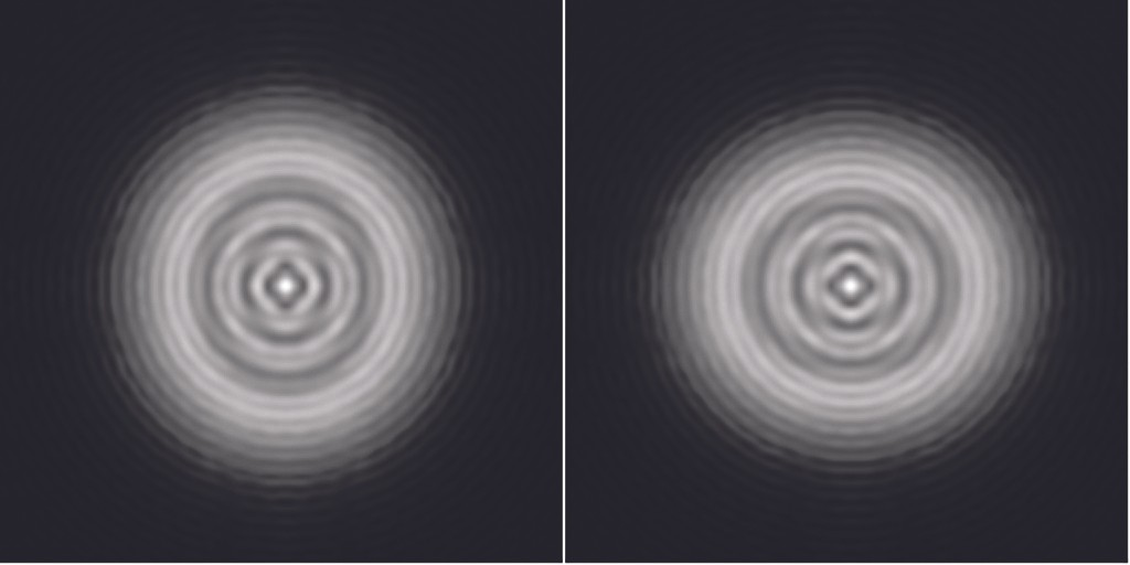 Another simulated Airy disk, this time revealing astigmatismCredit: Steve Richards