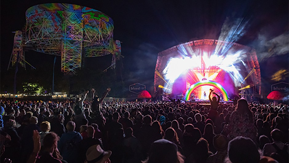 The annual bluedot festival is three days of music and science at Jodrell Bank Observatory in rural Cheshire. Credit: Jody Hartley