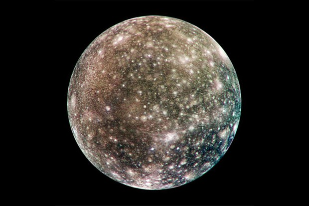 Callisto's anti-Jovian hemisphere imaged in 2001 by NASA's Galileo spacecraft