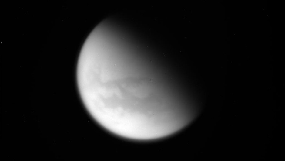 An unprocessed image of Saturn's moon Titan taken during Cassini's final close flyby of the moon, 22 April 2017. Credit: NASA/JPL-Caltech/Space Science Institute