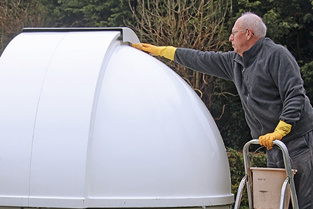 You need to wash your dome the old-fashioned way; hosing it down will make the inside wet. Image Credit: Steve Richards