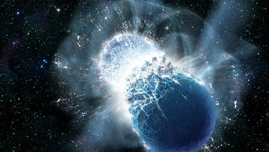 Gravitational waves formed by neutron stars colliding (artist's impression) Credit: Caltech/MIT/LIGO Laboratory