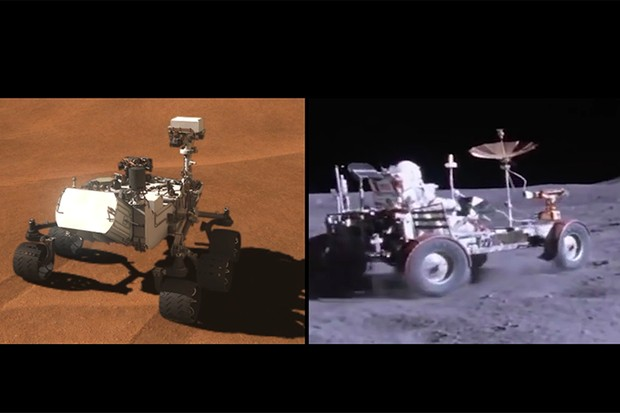 Curiosity inadvertantly recreated an experiment that was first run by the Apollo 17 astronauts using the Lunar buggy. Credit: NASA/JPL-Caltech