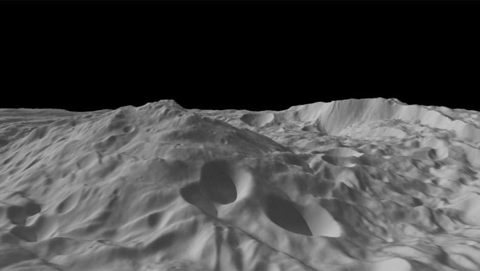 A model of Vesta's south polar region, created using data collected by the Dawn spacecraft. Credit: NASA/JPL-Caltech/UCLA/MPS/DLR/IDA