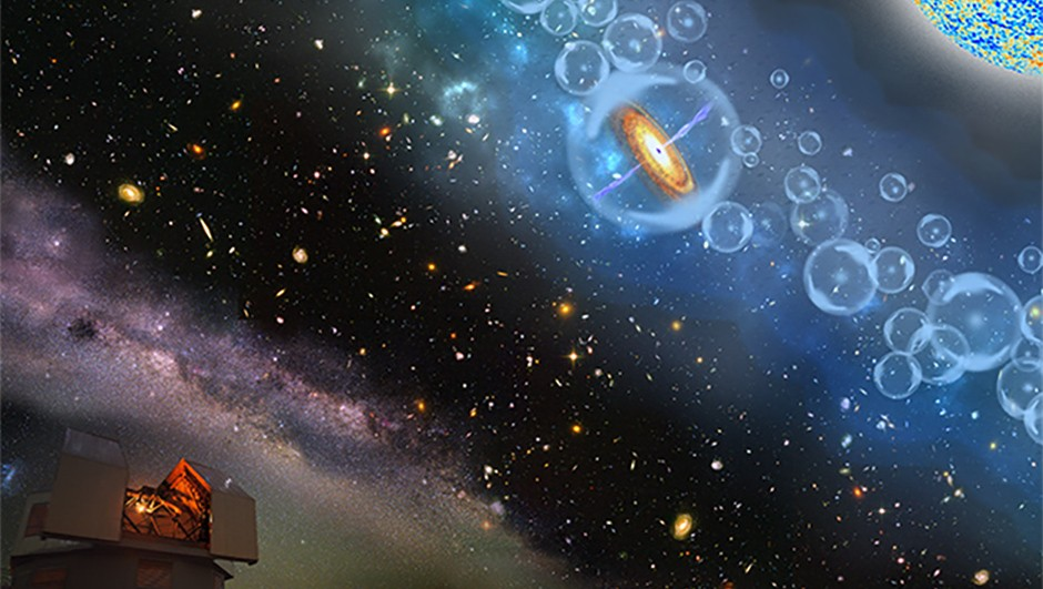 An artist's impression of the Magellan telescope peering into the early UniverseCredit: Robin Dienel