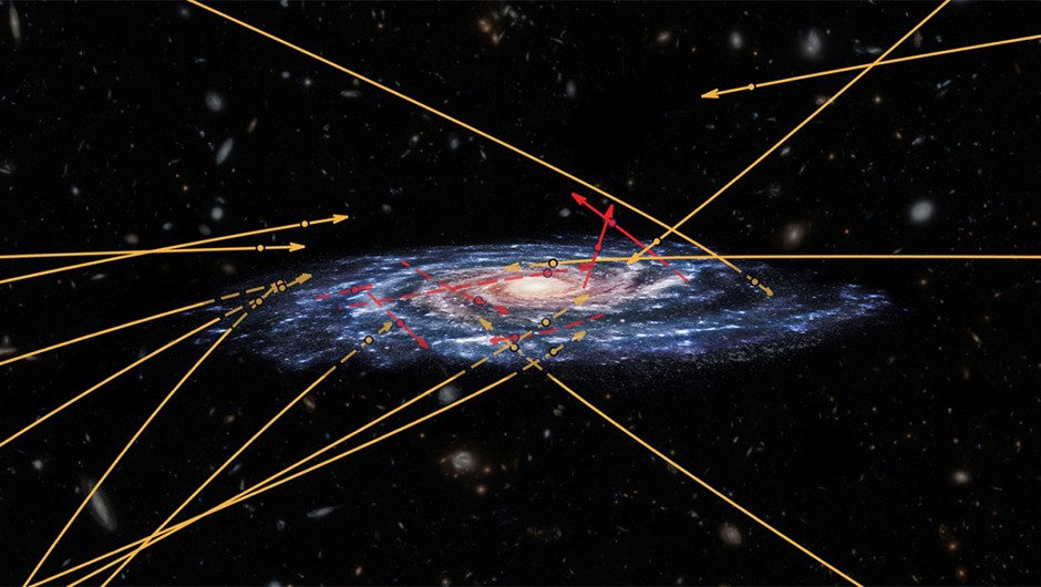Scientists were surprised to find hypervelocity stars speeding towards the Milky Way's centre.Copyright: ESA (artist's impression and composition); Marchetti et al. 2018 (star positions and trajectories); NASA/ESA/Hubble (background galaxies); CC BY-SA 3.0 IGO