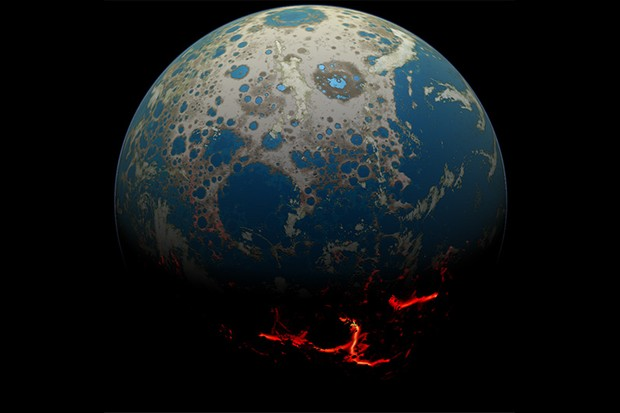 An artistic conception of the early Earth, showing a surface pummeled by large impacts, resulting in extrusion of deep seated magma onto the surface. At the same time, distal portions of the surface could have retained liquid water. Credit: Simone Marchi/SwRI.