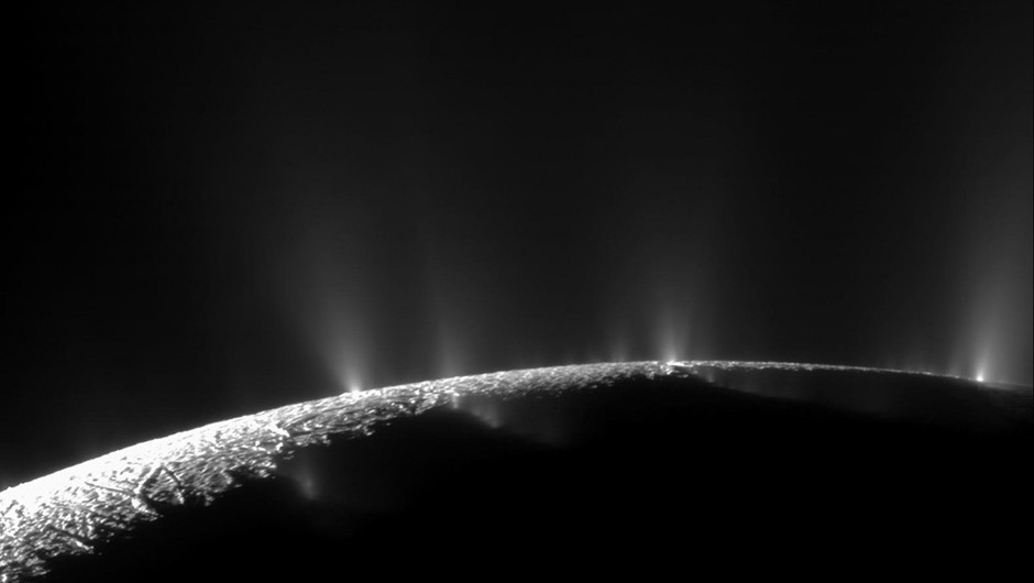 This image captured by the Cassini spacecraft shows plumes of water ice erupting from the surface of Enceladus. Do similar plumes exist on Jupiter's moon Europa? Credit: NASA/JPL-Caltech/SSI