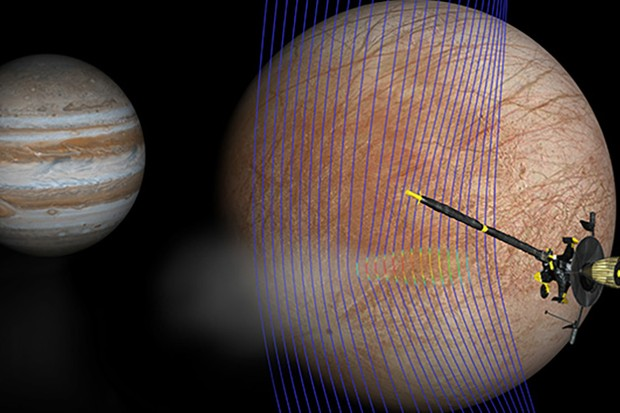 An illustration of Jupiter and Europa, showing the Galileo spacecraft passing through a plume erupting on the moon's surface. Magnetic field lines in blue show how the plume interacts with the flow of plasma. Image Credits: NASA/JPL-Caltech/Univ. of Michigan