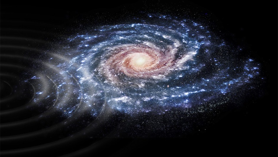 An artist's impression of a perturbation in the velocities of stars in the Milky Way, as detected by the Gaia mission. Gaia data has shown our Galaxy is still feeling effects of a nearby collision that has rippled through the stars. The collision probably took place within the past 300 - 900 million years, and may have involved the Sagittarius dwarf galaxy, which is in the process of merging with the Milky Way.Credit: ESA, CC BY-SA 3.0 IGO