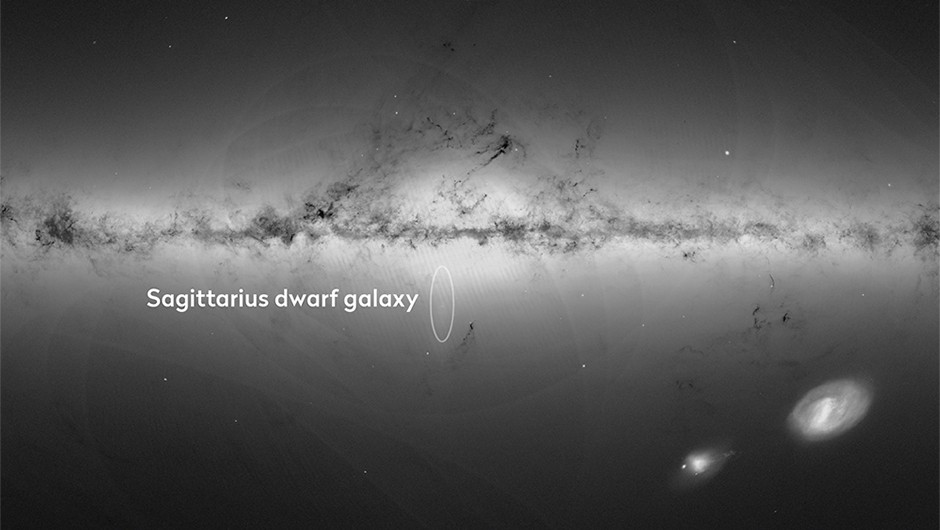 Gaia's map of the Milky Way and neighbouring galaxies, created using measurements of almost 1.7 billion stars. Gaia revealed that a near hit with the Sagittarius dwarf galaxy 300–900 million years ago triggered odd ripples in our GalaxyCredit: ESA/Gaia/DPAC, CC BY-SA 3.0 IGO
