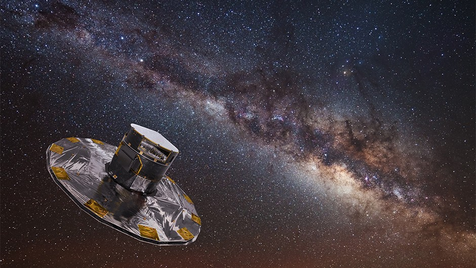 An artist's impression of the Gaia spacecraft mapping the Milky Way Copyright ESA/ATG medialab; background: ESO/S. Brunier