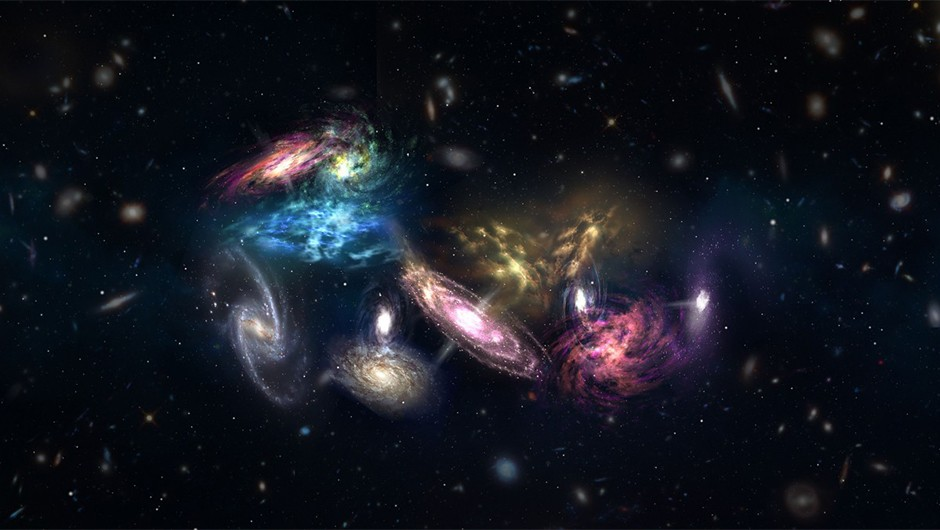 An artist's impression of 14 galaxies on the verge of forming the core of a massive galaxy cluster. Credit: NRAO/AUI/NSF; S. Dagnello