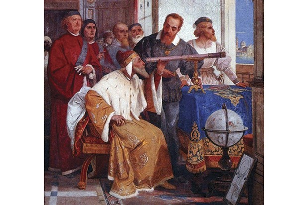 A fresco by Giuseppe Bertini portraying Galileo showing the Doge of Venice how to use a telescope. Credit: Giuseppe Bertini / http://www.gabrielevanin.it/S.%20Marco%201609.htm / http://www.gabrielevanin.it/Bertini.jpg