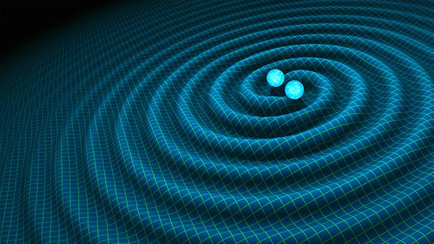 An artist's illustration of gravitational waves being produced by the collision of two neutron stars. Credits: R. Hurt/Caltech-JPL