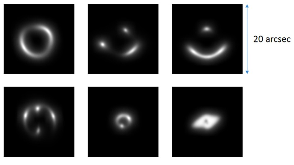 With the help of artificial intelligence, astronomers discovered 56 new gravity lens candidates. This picture shows a sample of the handmade photos of gravitational lenses that the astronomers used to train their neural network.Credit: Enrico Petrillo (Rijksuniversiteit Groningen)
